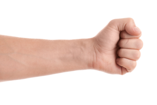 A hand makes a fist, the first position in a six-part median nerve glide exercise for carpal tunnel syndrome.