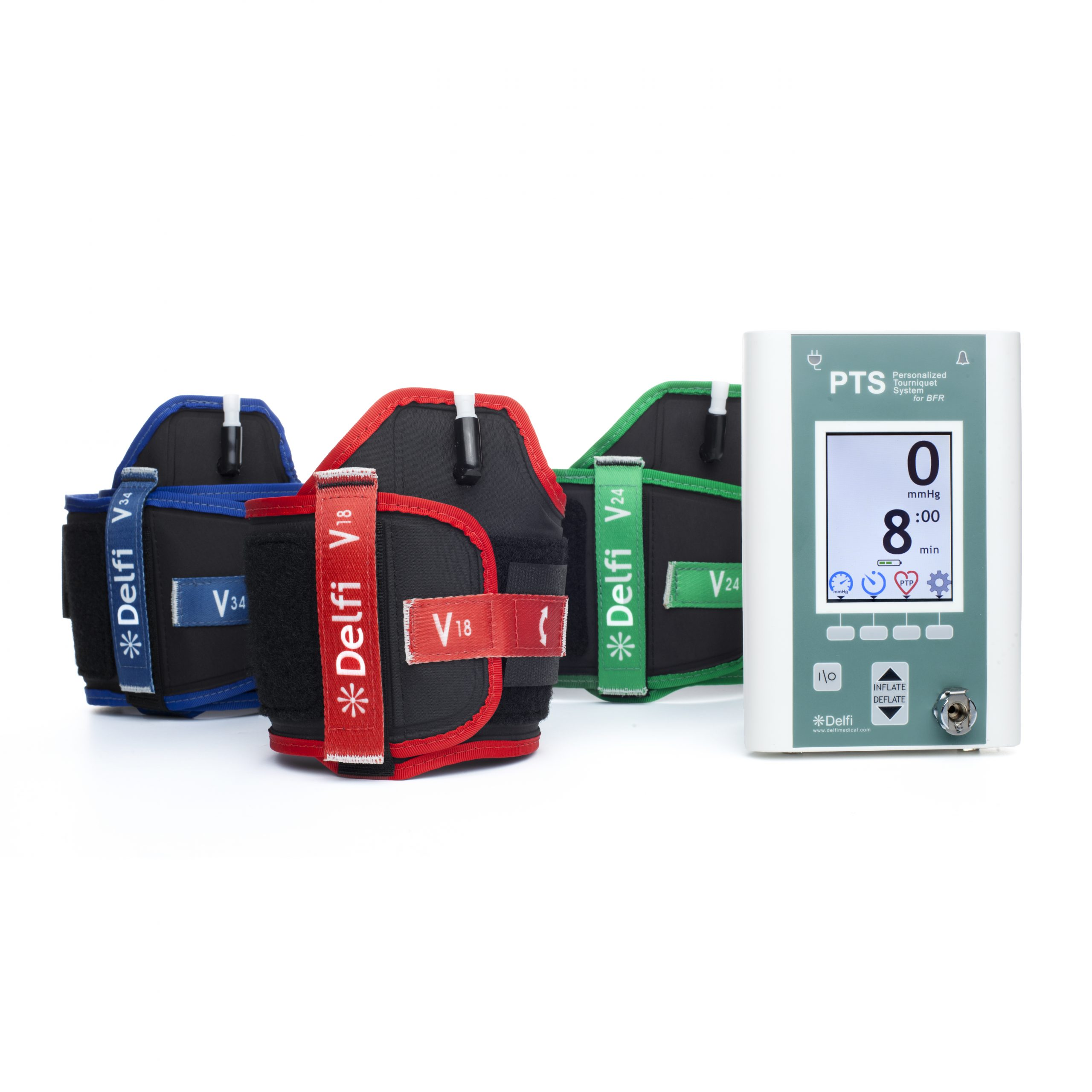 Three blood flow restriction cuffs are shown with a personalized tourniquet system.