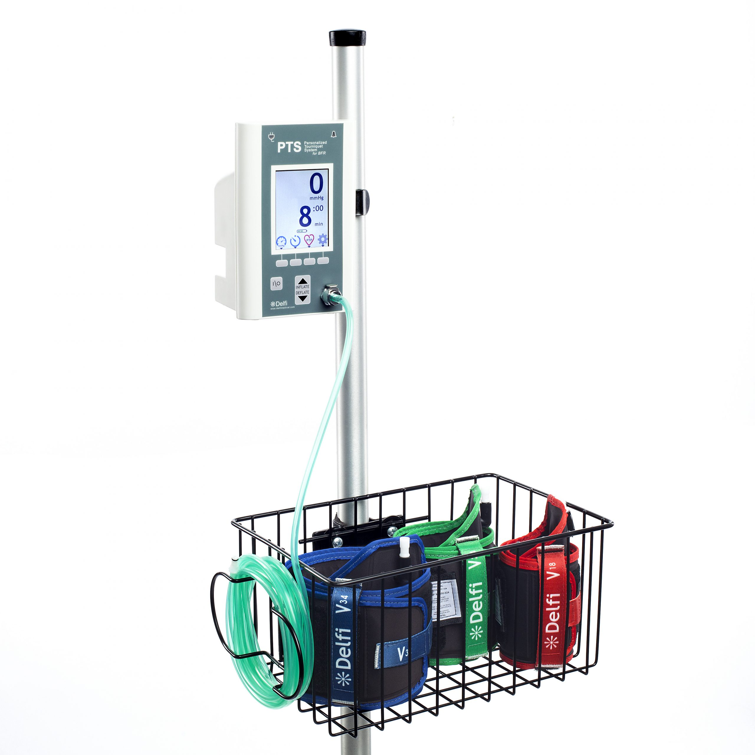 A blood flow restriction kit hangs on a rolling stand ready for BFR therapy