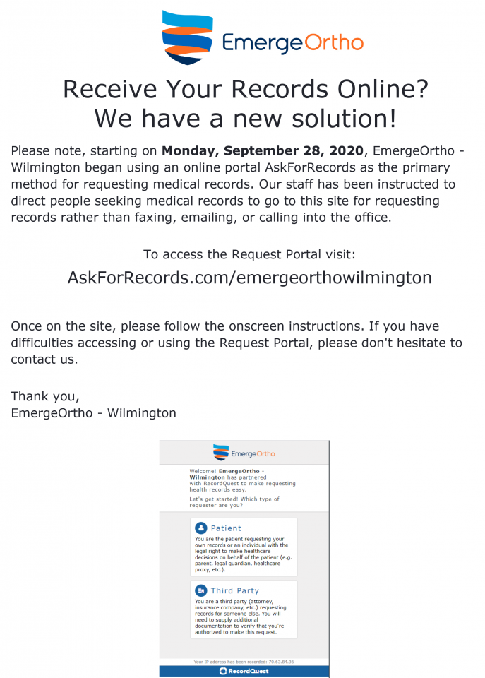 Wilmington Region - Request Medical Records 2020