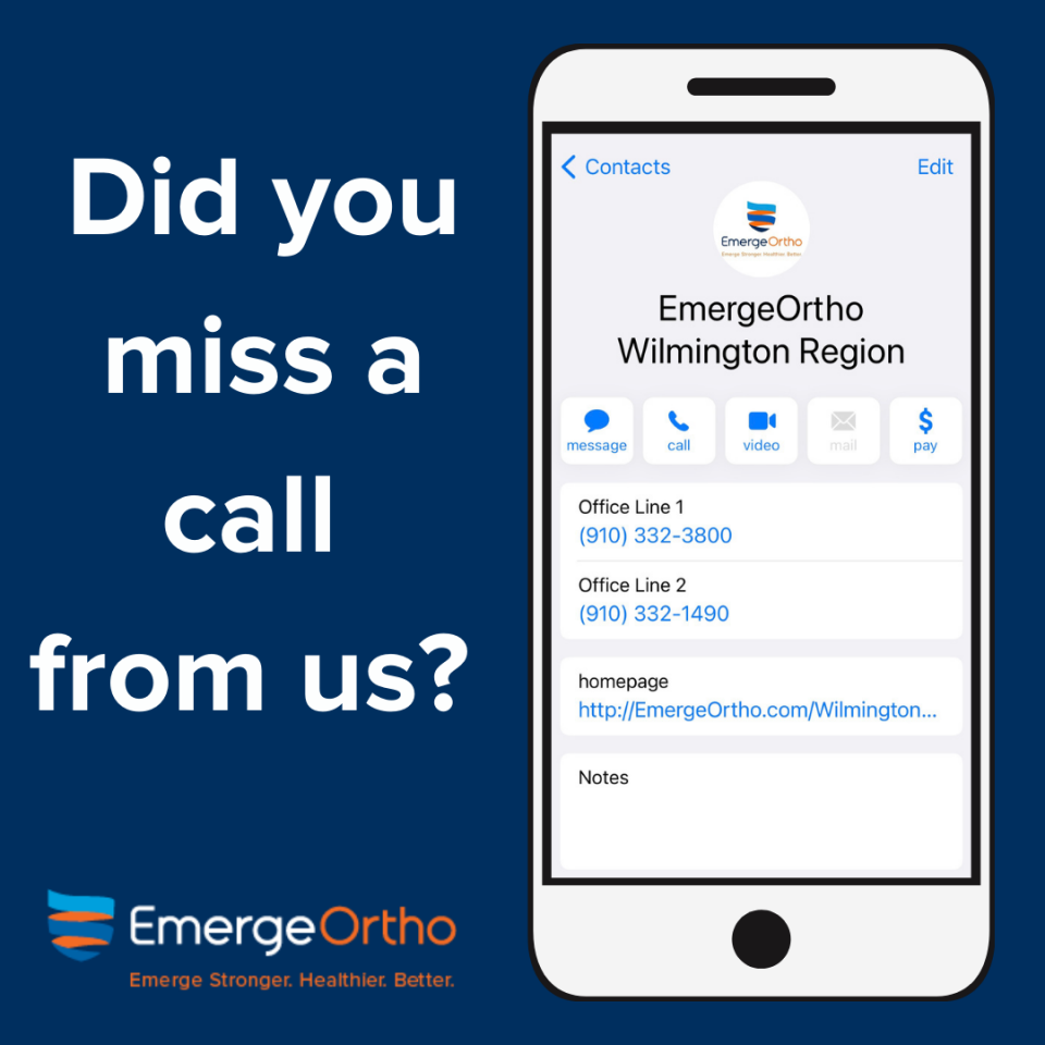 DID YOU MISS A CALL FROM EMERGEORTHO WILMINGTON?